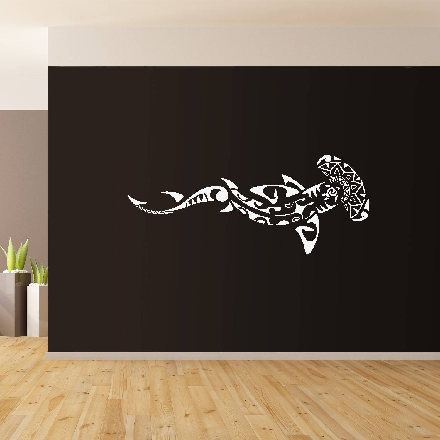Polynesian Shark Wall Art Giant Sticker Mural Graphic Wallart Sea Throughout Most Current Polynesian Wall Art (View 11 of 20)