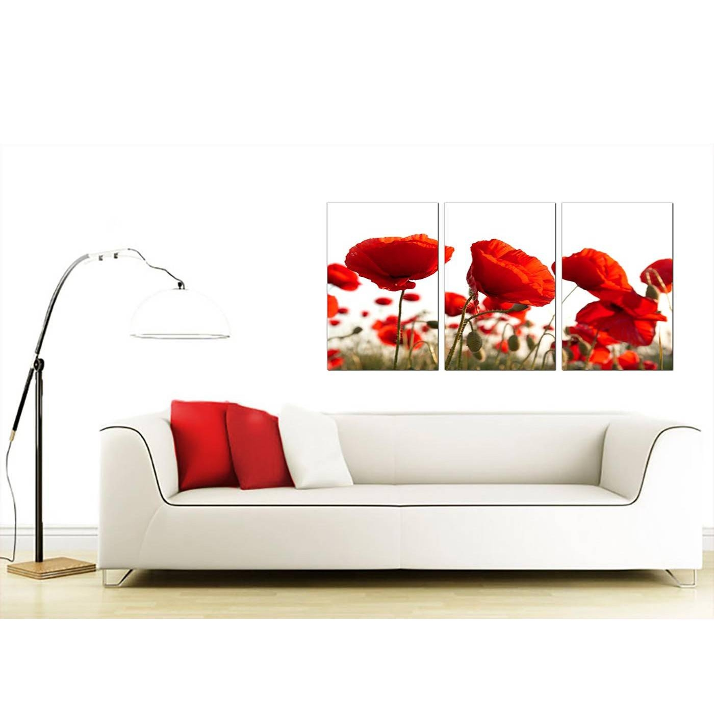 Poppy Canvas Wall Art Set Of 3 For Your Living Room Pertaining To Most Up To Date Wall Art Sets For Living Room (View 13 of 20)