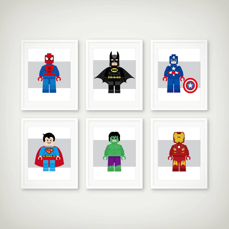 Popular Items For Boys Decor On Etsy Superhero Art Print Set Intended For Most Popular Superhero Wall Art For Kids (View 4 of 25)