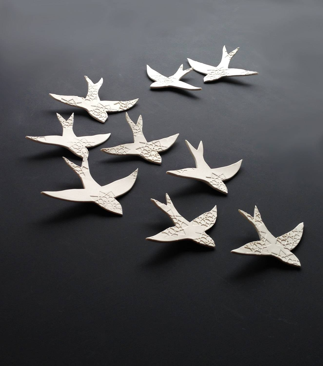 Porcelain 3D Large Wall Art Set Swallows Over Morocco 9 Birds Pertaining To Most Current Birds In Flight Metal Wall Art (View 17 of 30)