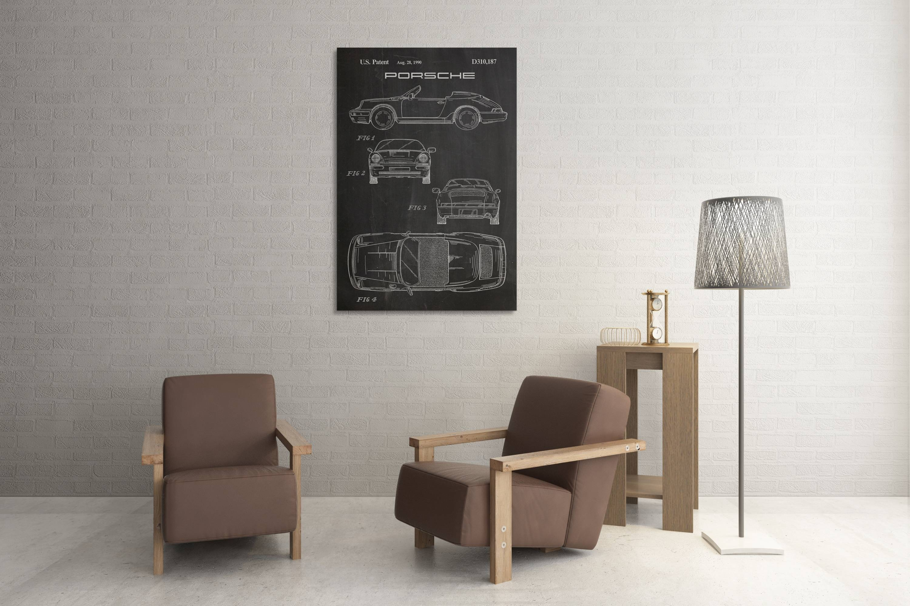 Porsche 911 Patent Canvas Wall Art With Latest Vintage 3d Wall Art (View 16 of 20)