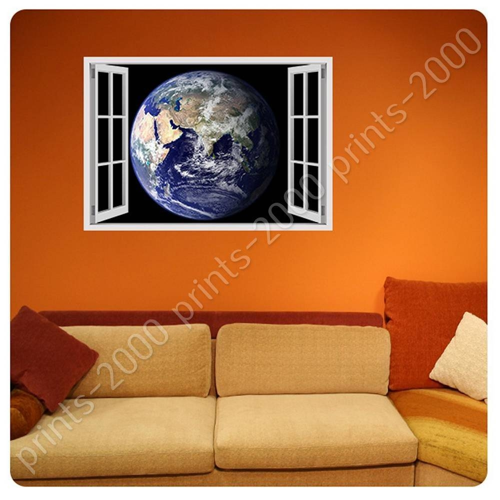 Poster Or Sticker Decals Vinyl Earth From Space Fake 3D Window In Most Up To Date Space 3D Vinyl Wall Art (View 19 of 20)