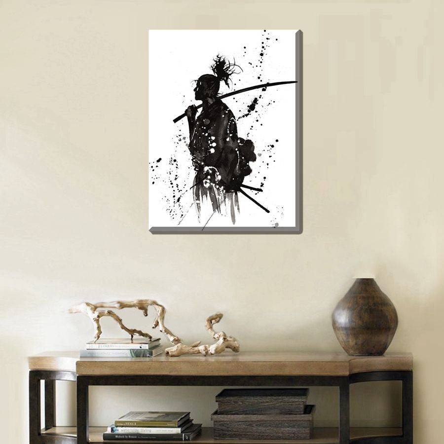 Poster Print White And Black Ink Painting Japanese Samurai Cool Pertaining To 2017 Samurai Wall Art (View 7 of 20)