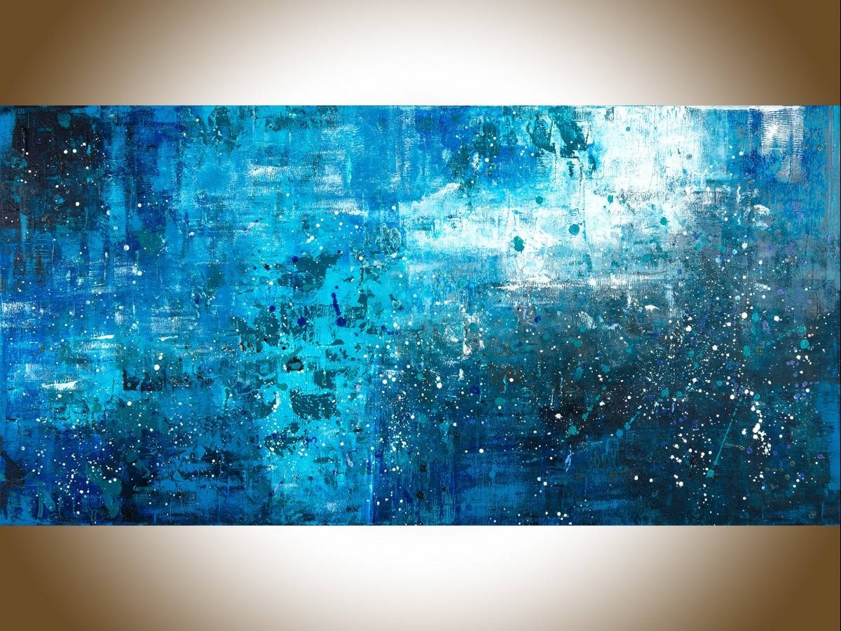 "Pouring Rainqiqigallery 48"" X 24"" Large Wall Art Blue Abstract Pertaining To Most Current Large Teal Wall Art (View 8 of 20)"