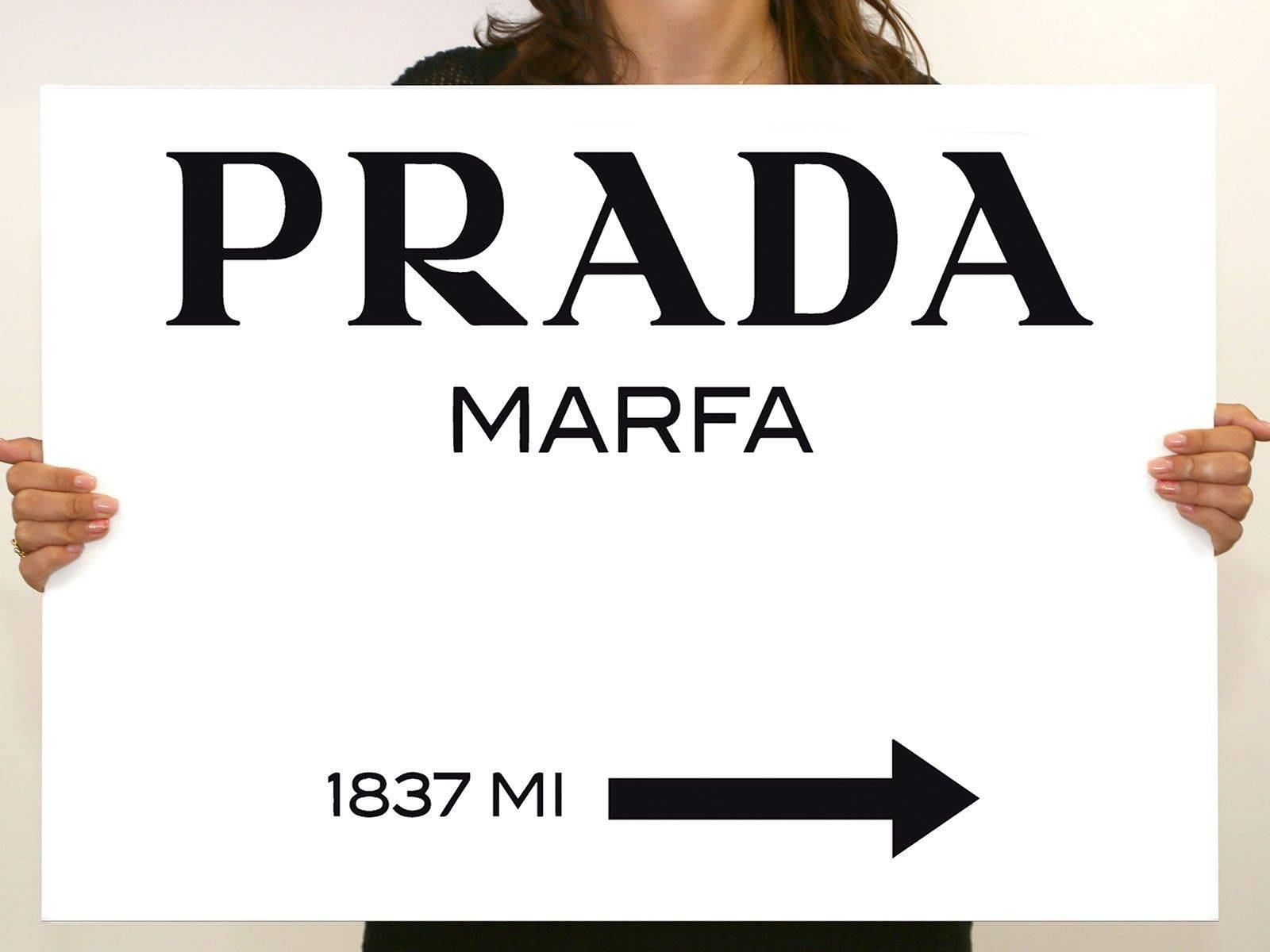 Prada Marfa Gossip Girl Sign Painting Canvas Wall Art 28X20Inch With 2017 Prada Marfa Wall Art (View 15 of 25)