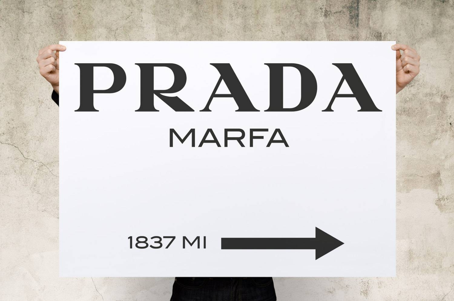 Prada Marfa Print Poster Large Print Canvas Print Wall Art Inside Best And Newest Prada Marfa Wall Art (View 16 of 25)