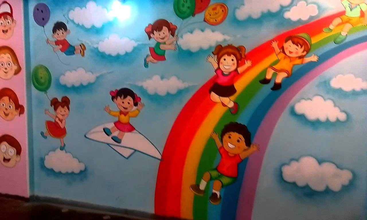 Preschool Playschool Classroom Wall Theme Painting Mumbai India Inside Newest Preschool Wall Art (Gallery 4 of 30)