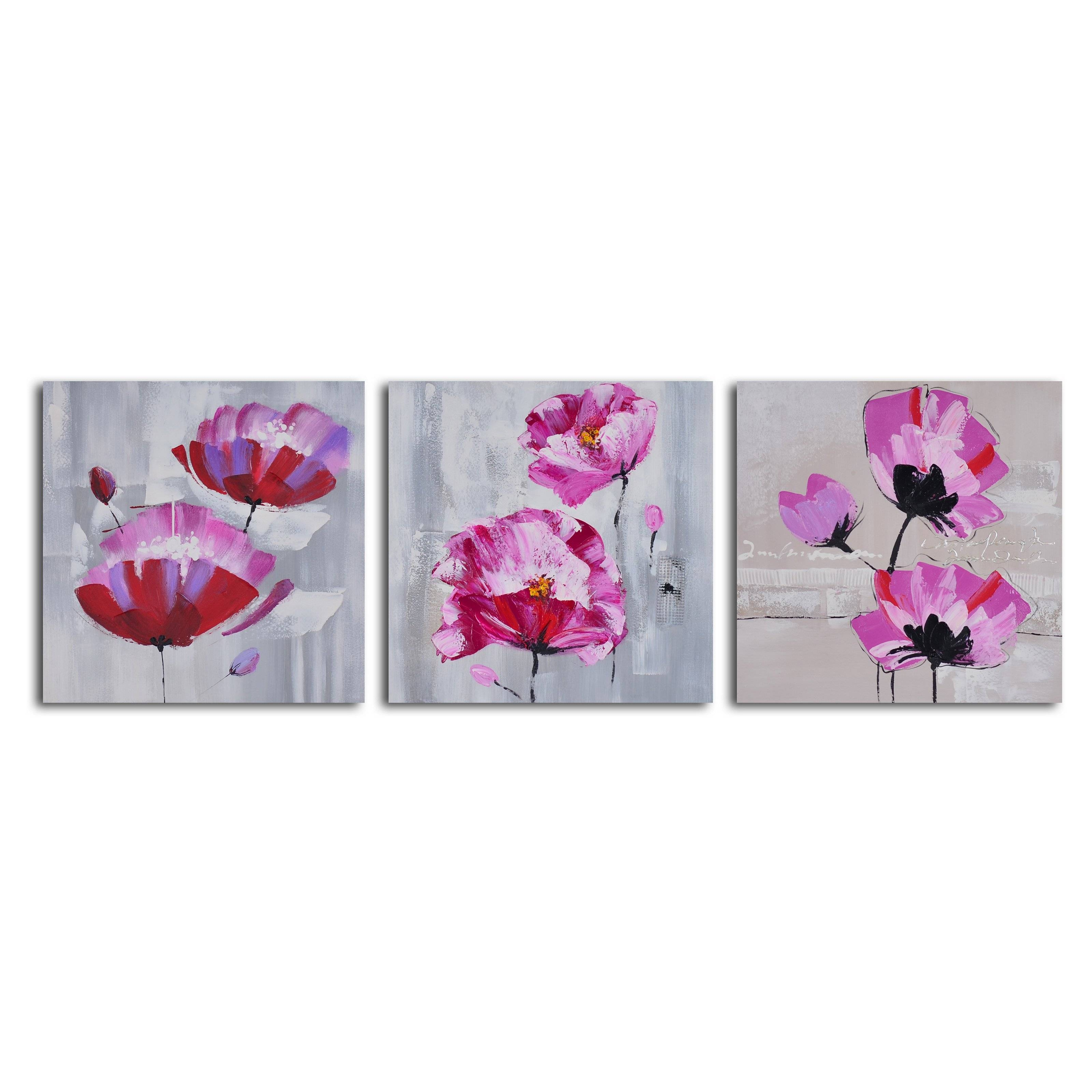 Pretty In Pink Triptych 3 Piece Canvas Wall Art Set | Hayneedle Within Best And Newest 3 Piece Floral Canvas Wall Art (View 18 of 20)