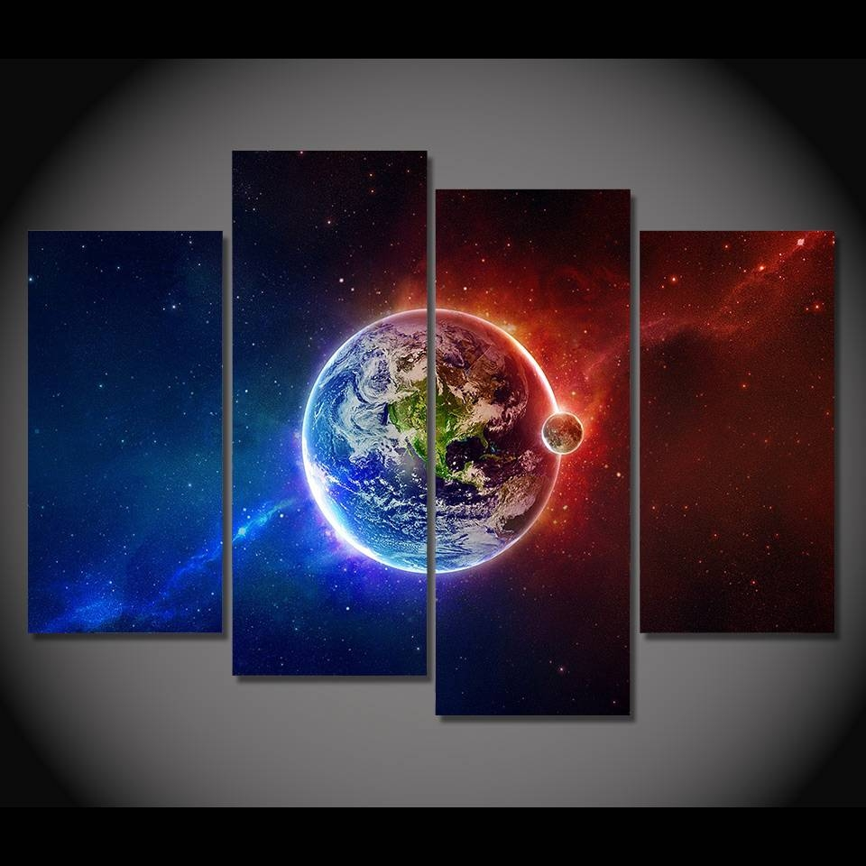 Print Canvas Painting Earth Planet Blue Orange Elements \wall Art With Latest Elements Wall Art (View 16 of 20)