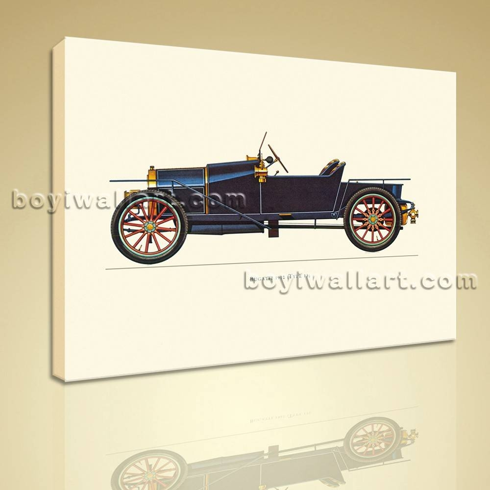Print Classical Vintage Transportation Antique Car Picture Canvas For Current Classic Car Wall Art (View 9 of 25)