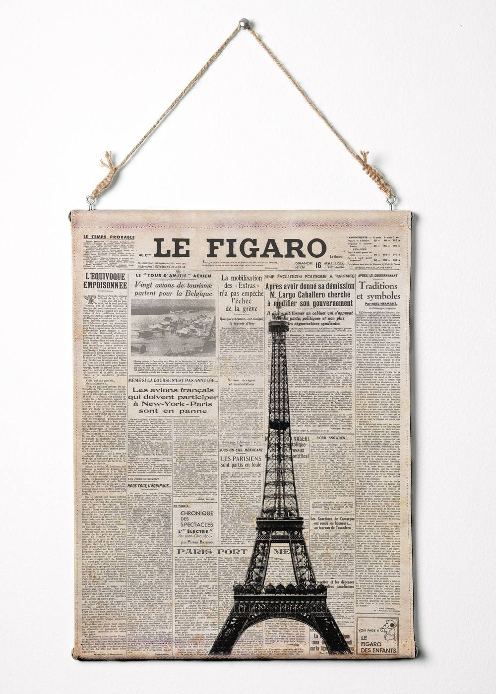 Print On Canvas. Eiffel Tower On Newspaper (View 11 of 20)