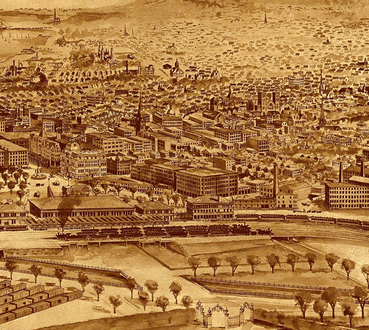 Providence, Ri In 1896 – Bird's Eye View Map, Aerial Map, Panorama Within Most Recently Released Antique Map Wall Art (View 13 of 20)