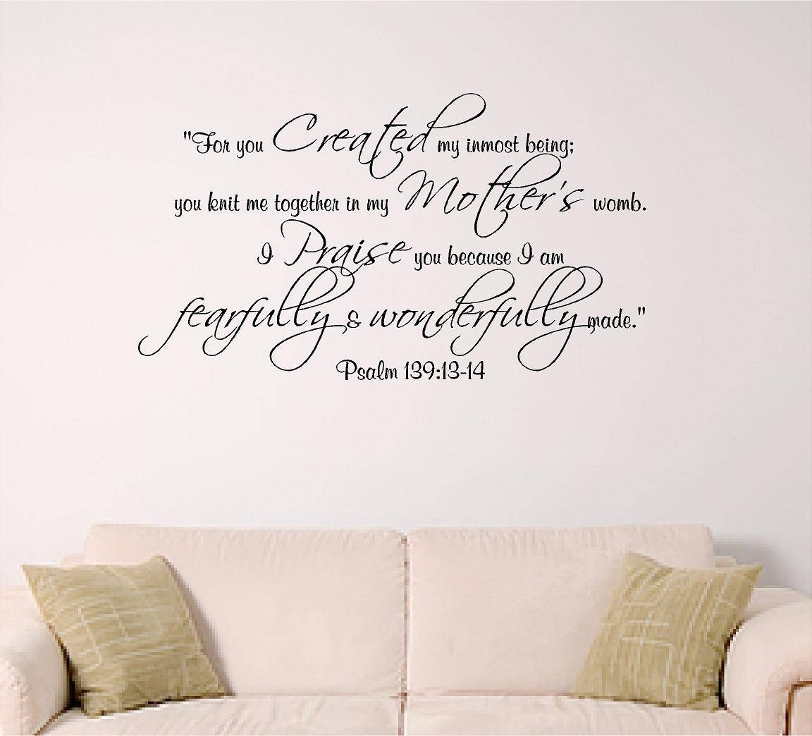 Psalm 139 Wall Decal Bible Verse Decal Nursery Dorm Church Pertaining To Newest Nursery Bible Verses Wall Decals (View 15 of 25)
