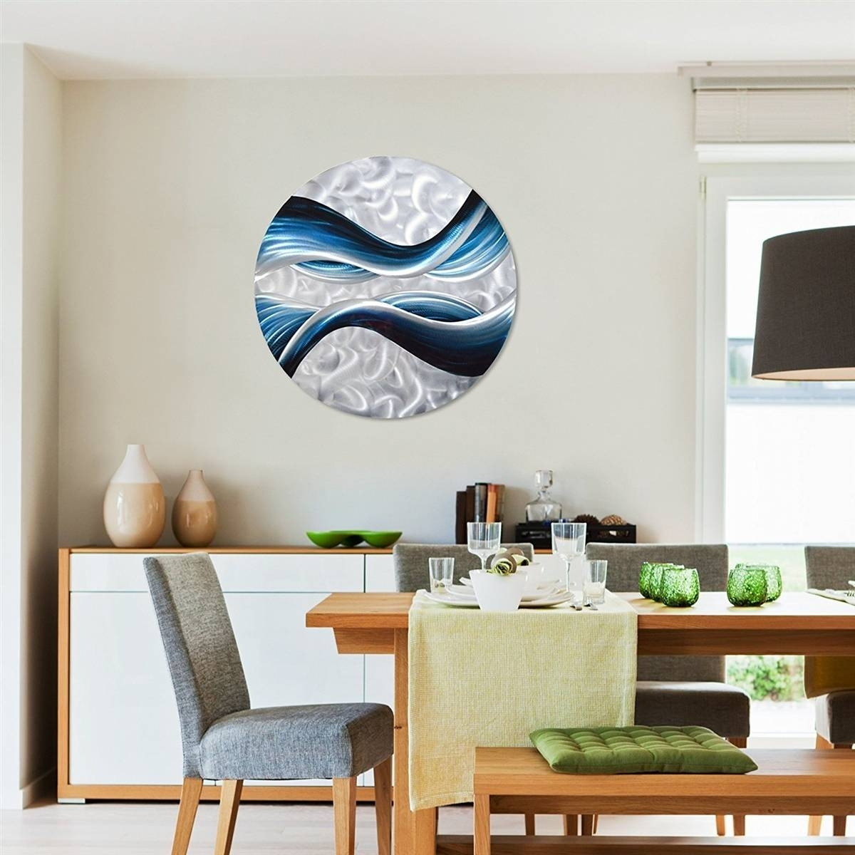 Pure Art Blue Desire Metal Wall Art, Small Round Metal Wall Decor Intended For Current Contemporary 3D Wall Art (View 16 of 20)