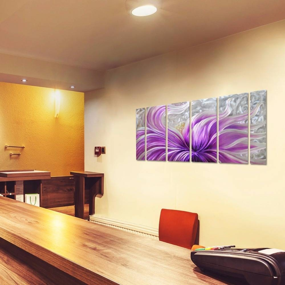 Purple Blossoms Flower Metal Wall Art Aluminum Painting Large For Recent Contemporary 3D Wall Art (View 17 of 20)
