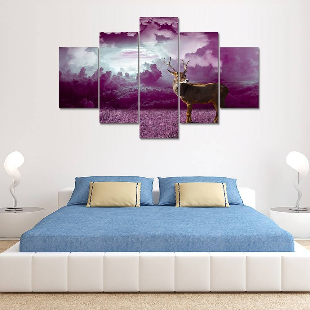 Purple Clouds Deer Painting Home Decoration Wall Art Canvas Print In Most Popular Purple Wall Art Canvas (View 18 of 20)