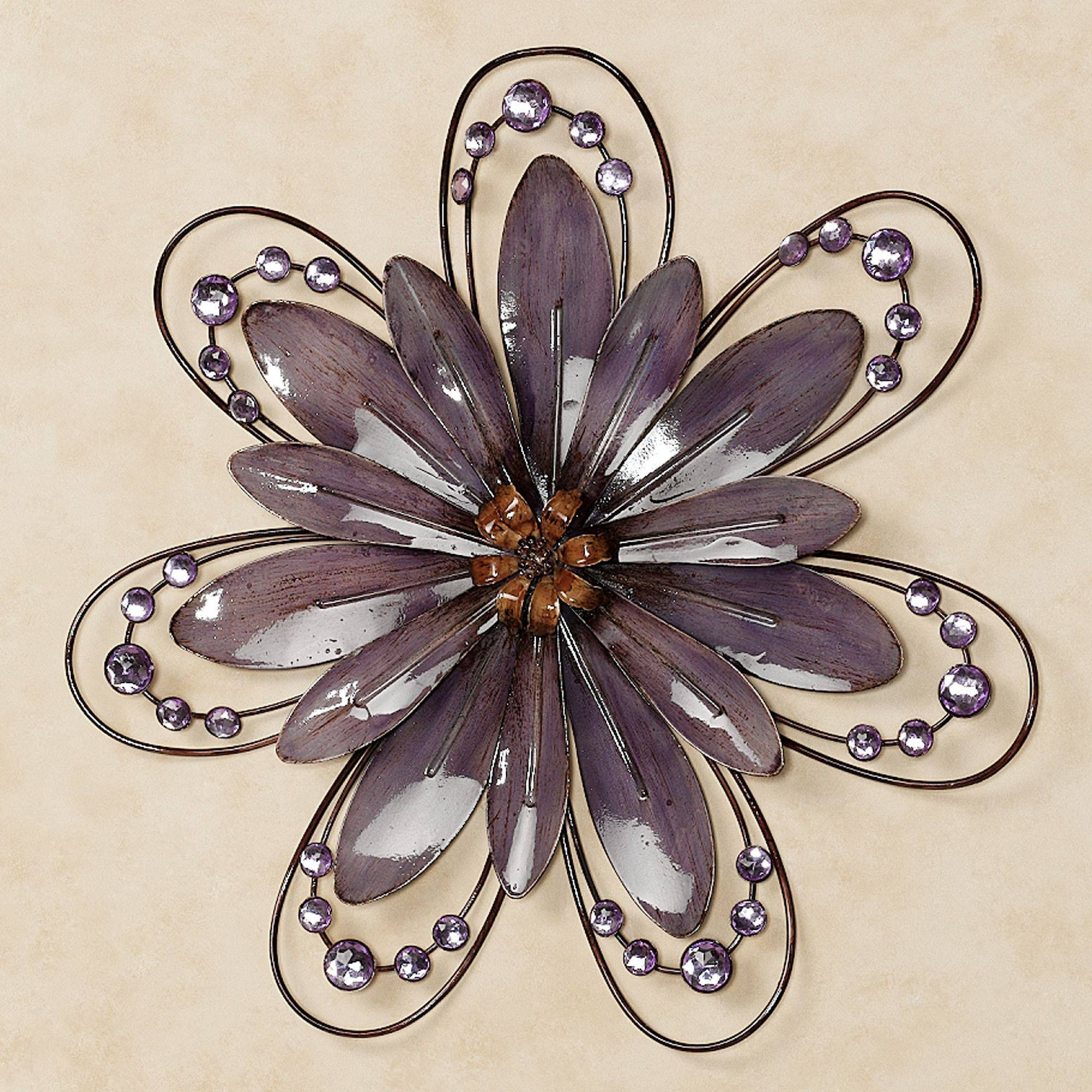 Purple Floral Gem Metal Wall Accent Inside 2017 Purple Flower Metal Wall Art (View 3 of 25)