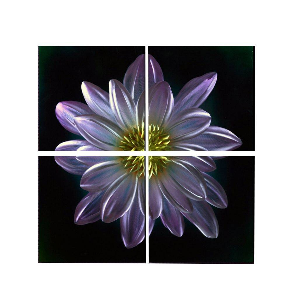 "Purple Flower Metal Wall Art Decor 32"" X 32"" Regarding Latest Purple Flower Metal Wall Art (View 17 of 25)"