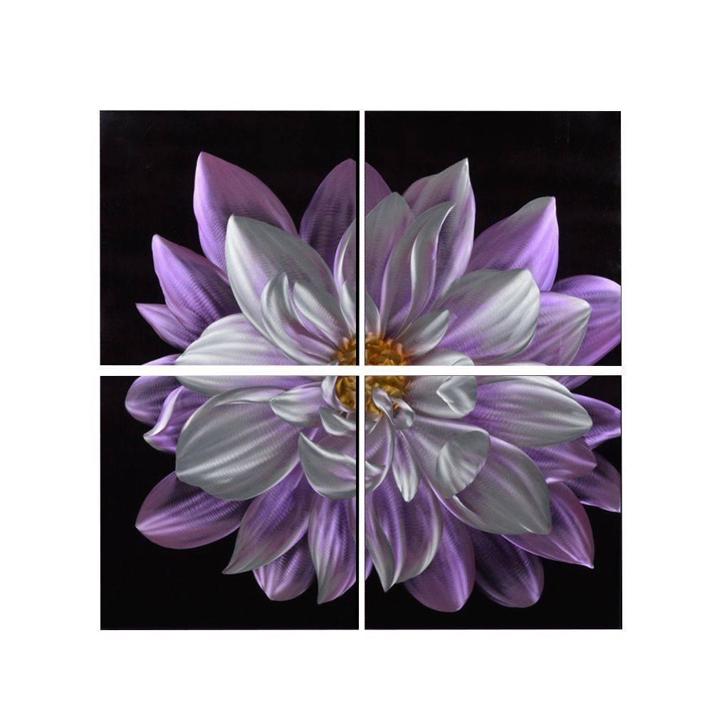 "Purple Flower Metal Wall Art Decor 32"" X 32"" Regarding Most Recent Purple Flower Metal Wall Art (View 13 of 25)"