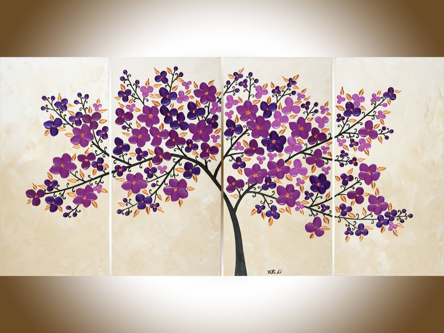 Purple Flowers Painting Purple Wall Art Large Canvas Art Pertaining To Current Purple Wall Art (View 13 of 20)