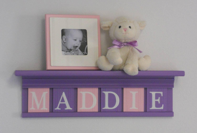 Purple Pink Nursery Decor Baby Girl Nursery Wall Art Shelf Toddler Pertaining To Current Little Girl Wall Art (View 14 of 20)