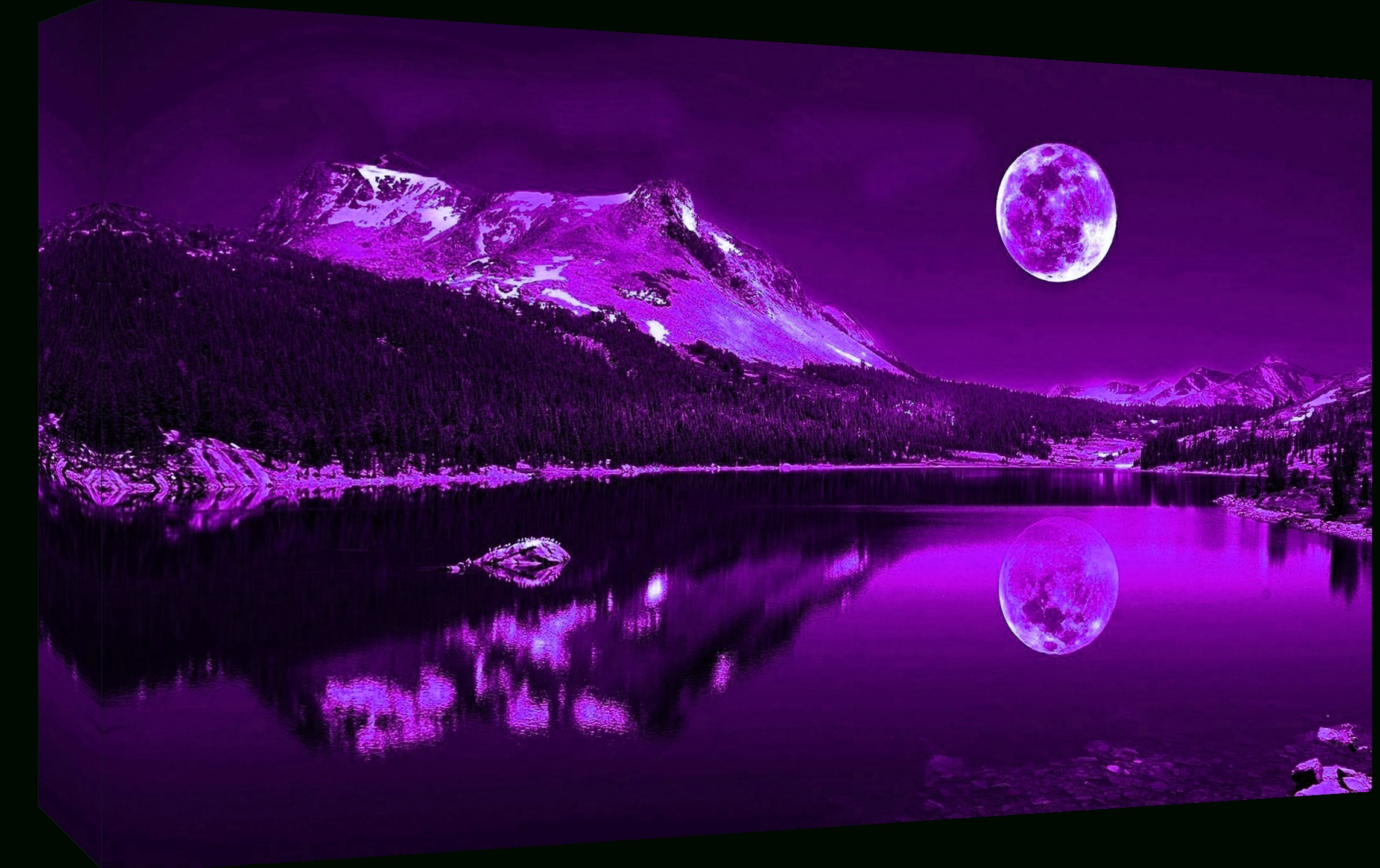 Purple Plum Moonlit Lake Cotton Canvas Wall Art Picture Print – A1 For Most Recent Purple Canvas Wall Art (View 18 of 20)