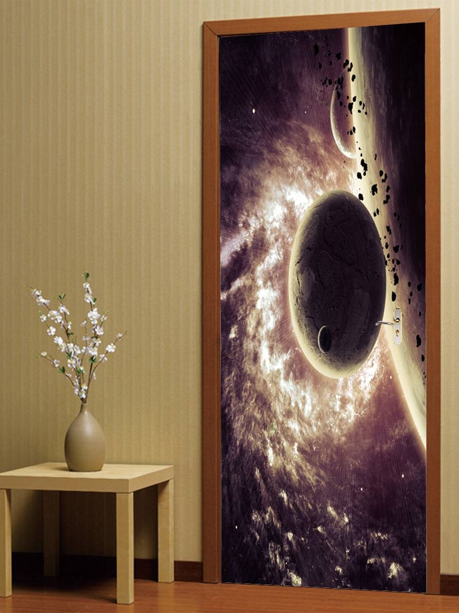 Pvc Self Adhesive Sticker Space Planet 3D Door Stickers Wallpaper Intended For Most Up To Date Space 3D Vinyl Wall Art (View 20 of 20)