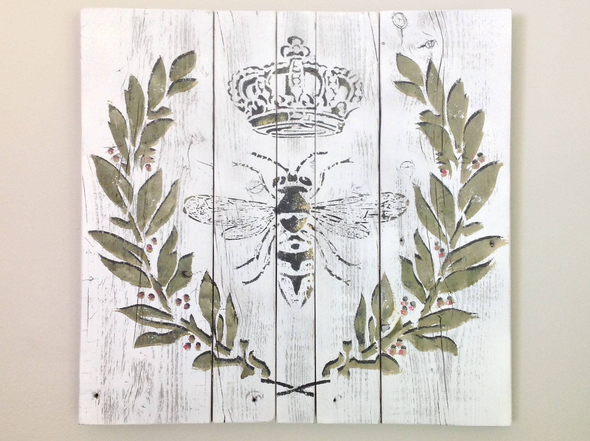Queen Bee Pallet Wall Art French Country Decor Farmhouse Decor Inside Newest Shabby Chic Wall Art (View 16 of 30)