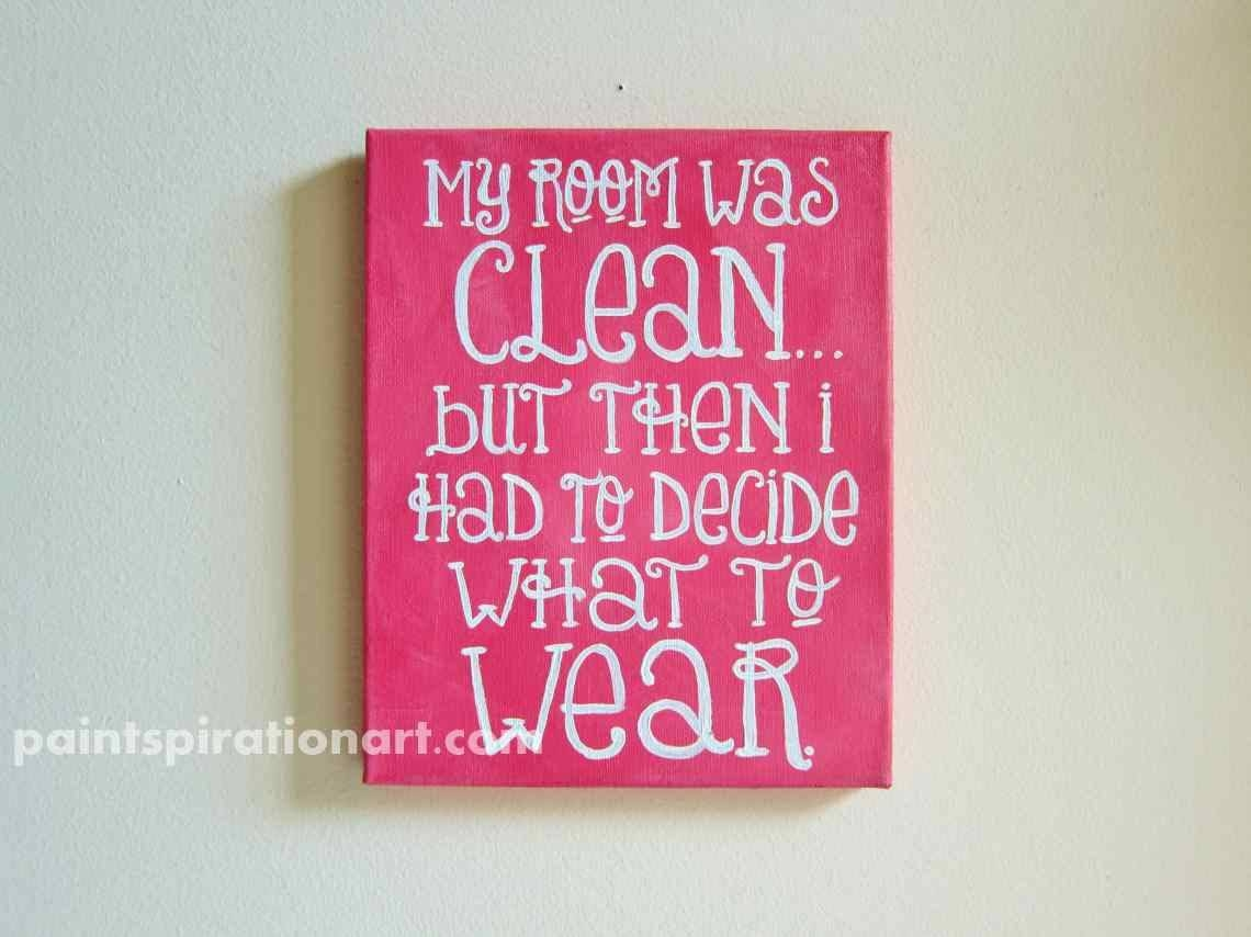 Quote Canvas Painting 8X10 Pink Wall Art Custom College Dorm Regarding Most Popular Wall Art For Teens (View 10 of 20)