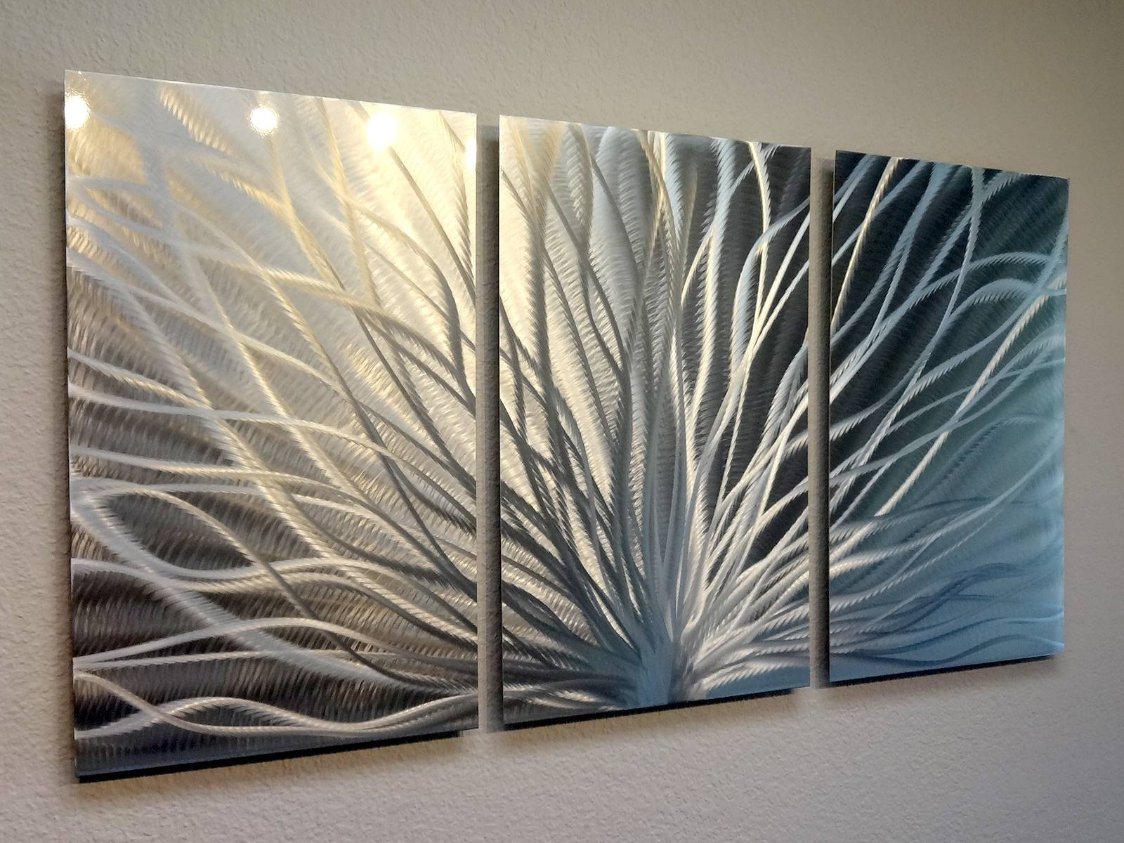 Radiance – 3 Panel Metal Wall Art Abstract Contemporary Modern With Regard To Most Recently Released Three Panel Wall Art (View 3 of 20)