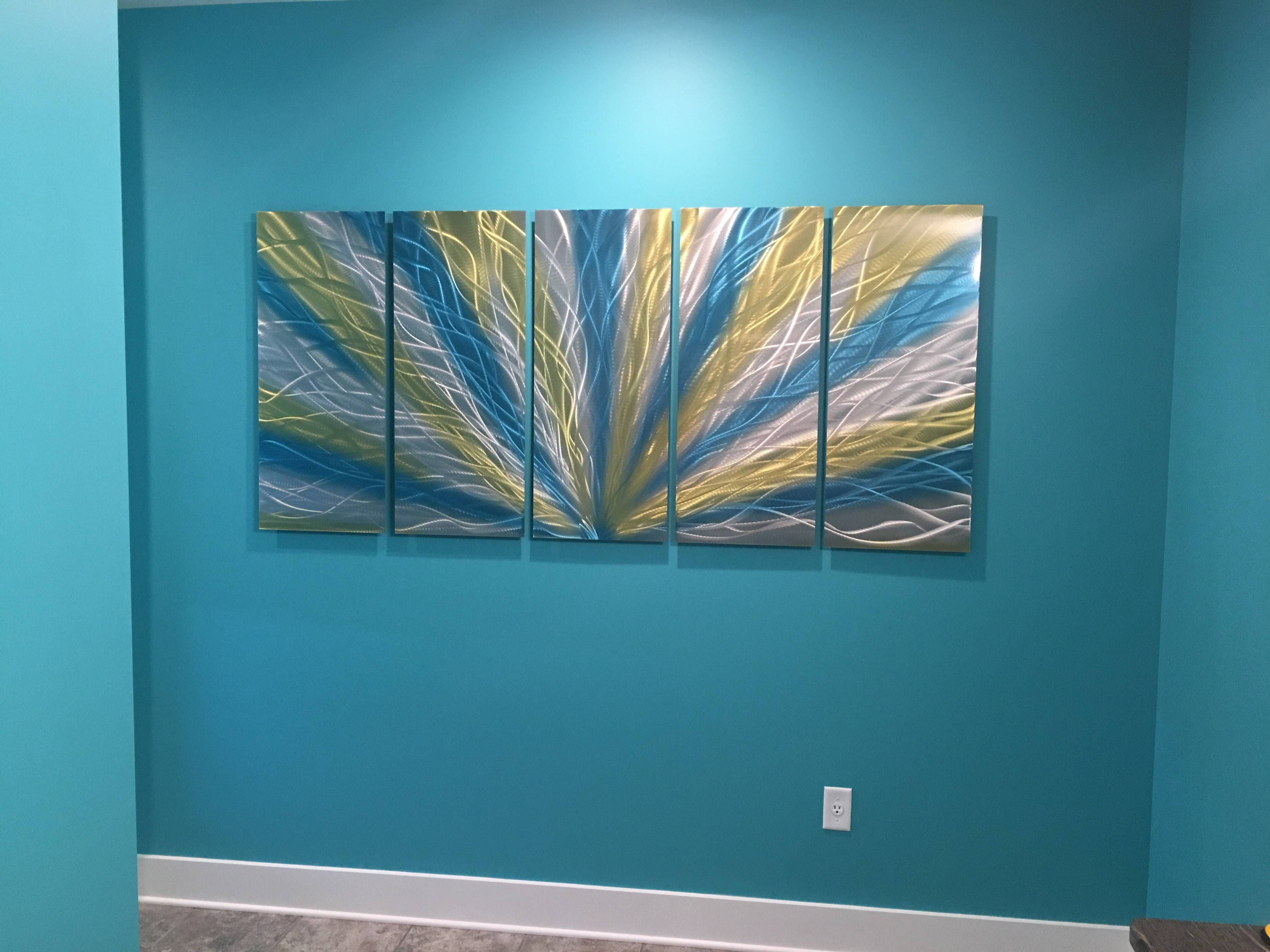 Radiance Blue Yellow 36X79 – Metal Wall Art Abstract Sculpture In 2018 Yellow And Blue Wall Art (Gallery 4 of 20)
