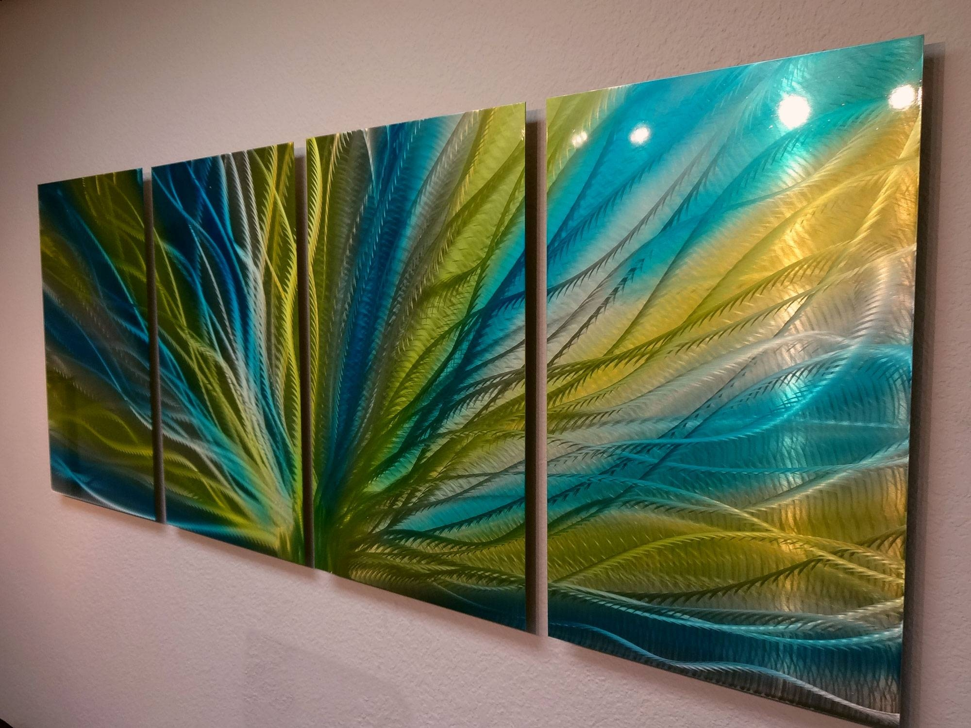 Radiance Blue Yellow  Metal Wall Art Abstract Contemporary Modern Inside Current Yellow And Green Wall Art (View 12 of 20)