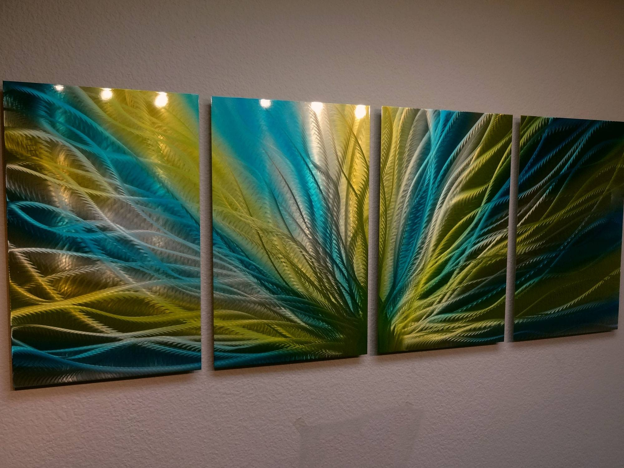Radiance Blue Yellow Metal Wall Art Abstract Contemporary Modern Intended For Newest Yellow And Green Wall Art (View 2 of 20)