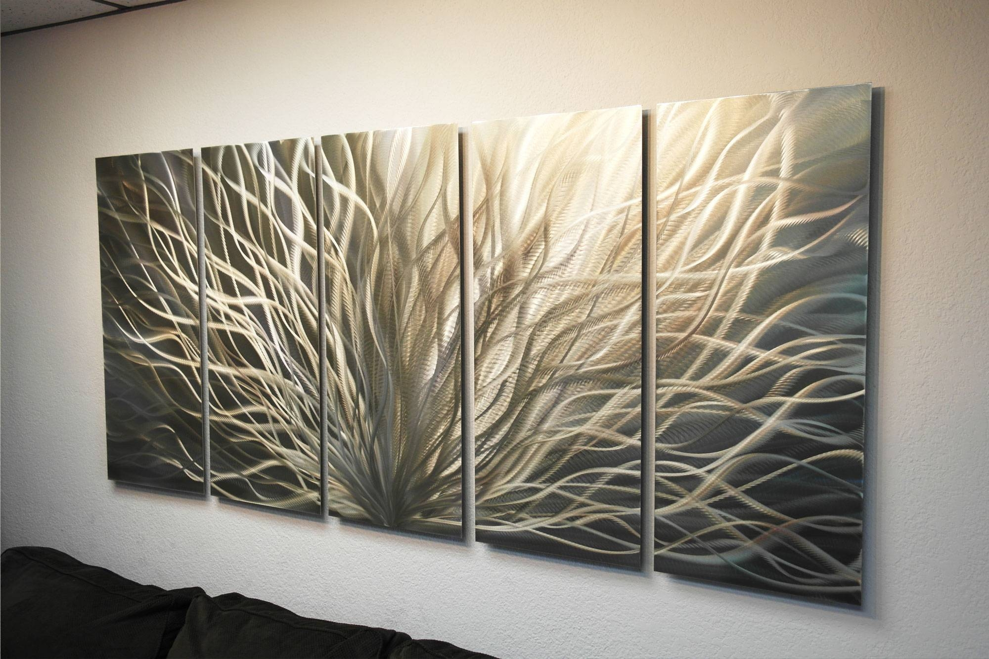 Radiance Gold Silver 36X79 – Metal Wall Art Abstract Sculpture For 2017 Silver And Gold Wall Art (Gallery 4 of 15)