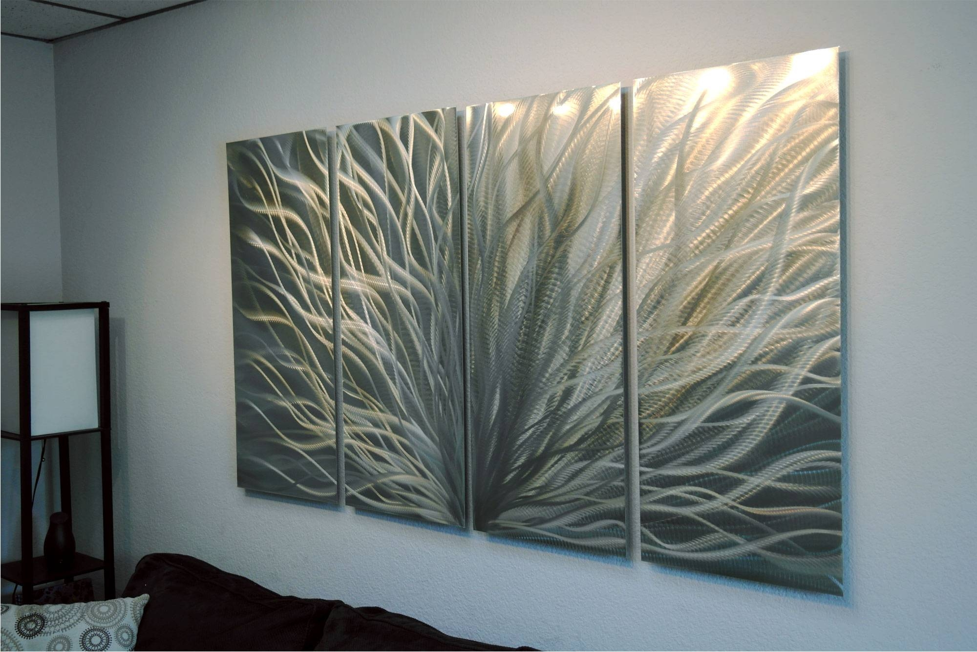 Radiance Silver And Gold 36X63 – Abstract Metal Wall Art In Most Up To Date Silver And Gold Wall Art (View 15 of 15)
