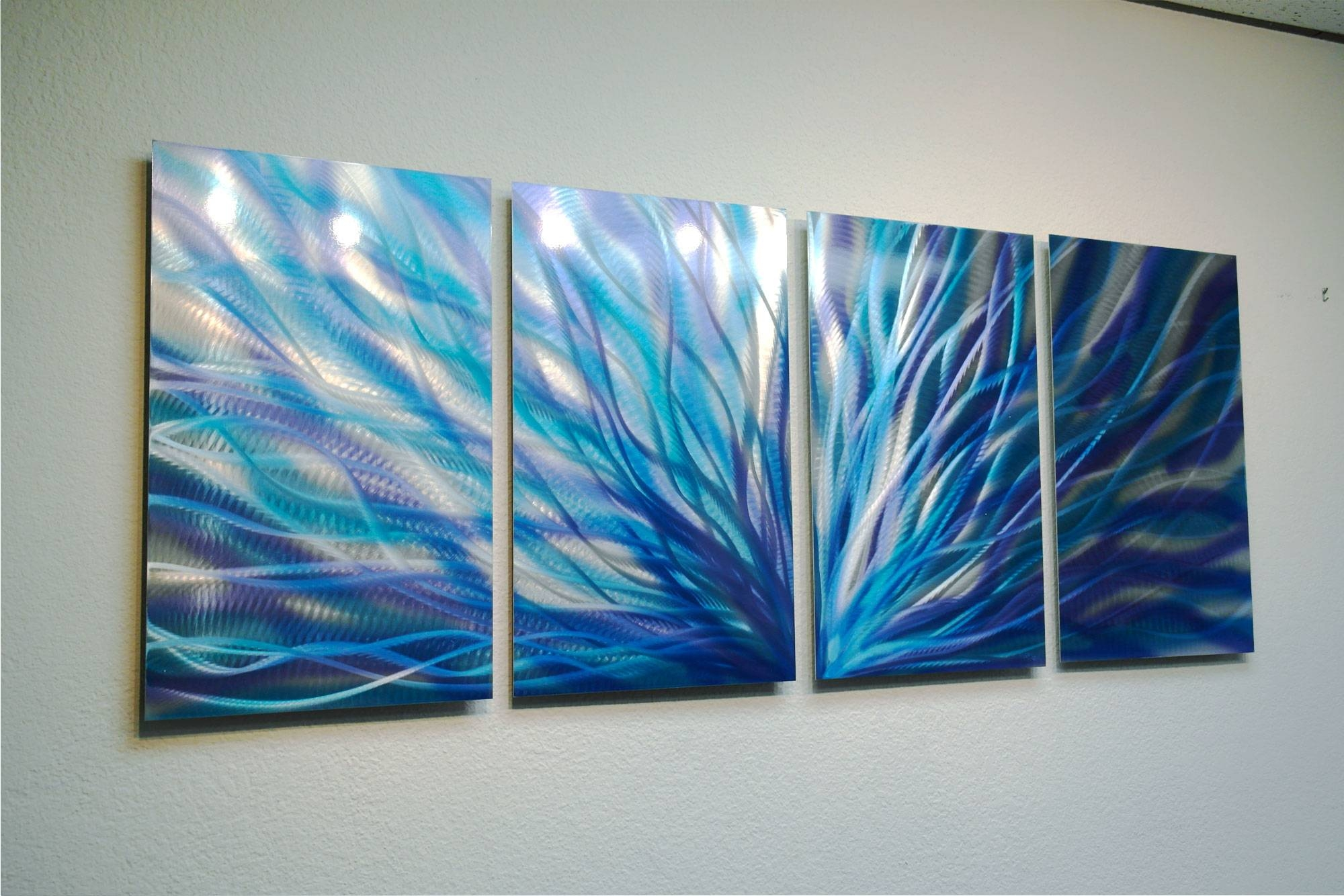 Radiance Twisted Blue – Abstract Metal Wall Art Contemporary For Best And Newest Blue And Green Wall Art (View 15 of 20)