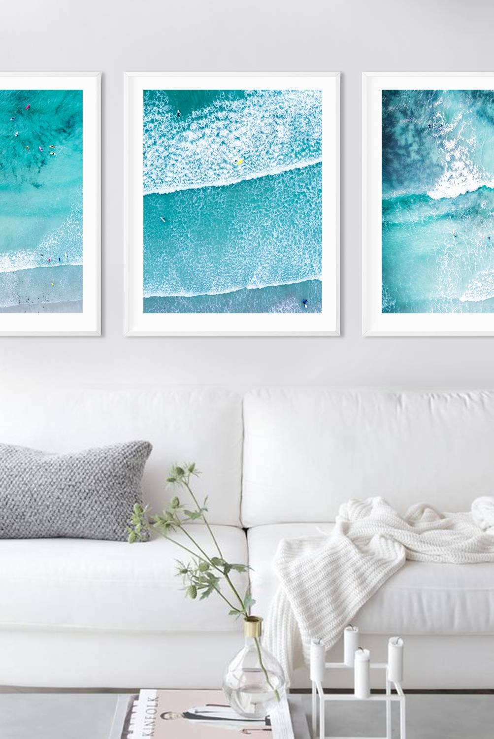 Radiant Abstract Painting Coastal Blue Green Grey Silver Leaf For Most Recently Released Beach Wall Art (View 12 of 15)