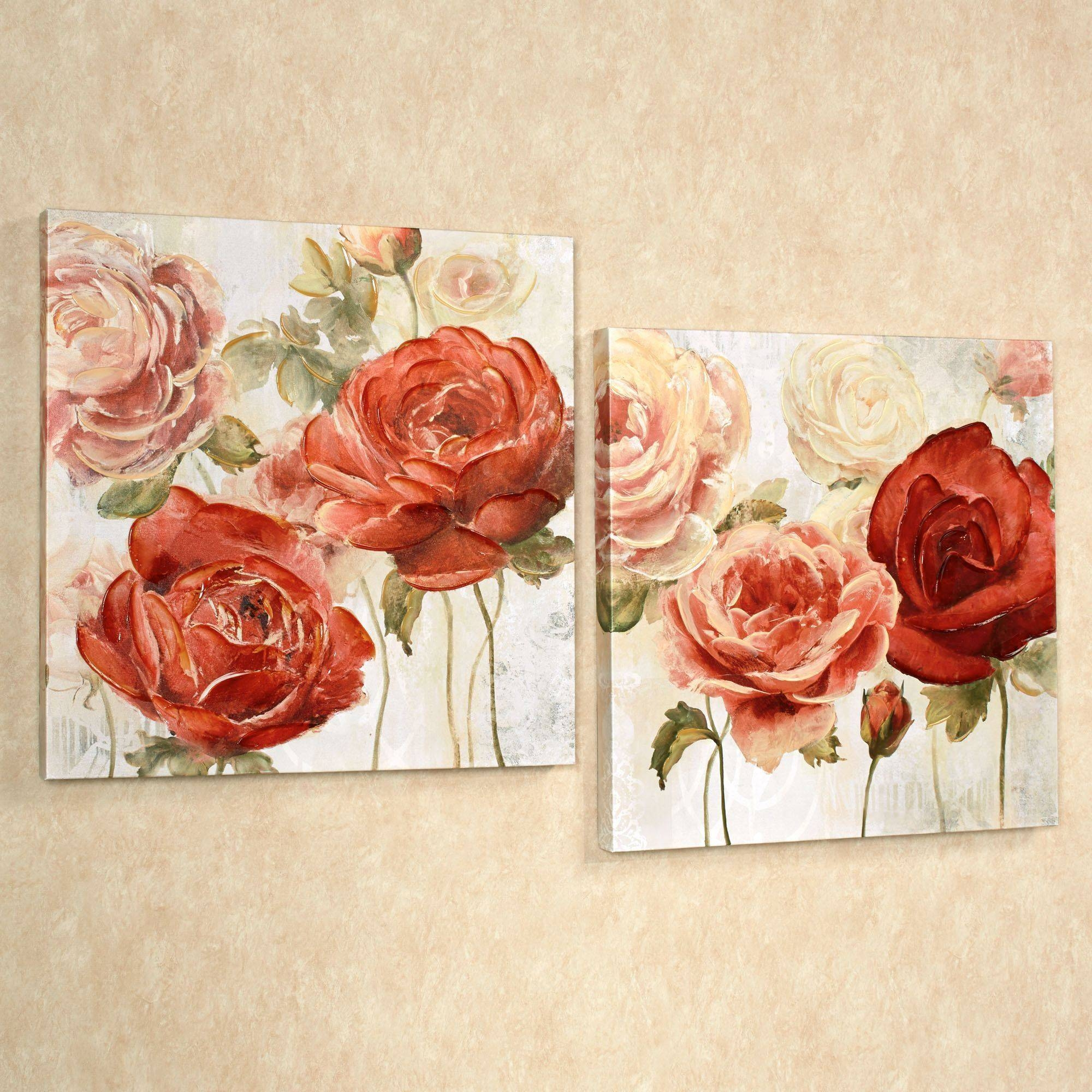 Radiant Blooms Rose Floral Canvas Wall Art Set Within Recent Rose Canvas Wall Art (View 14 of 20)