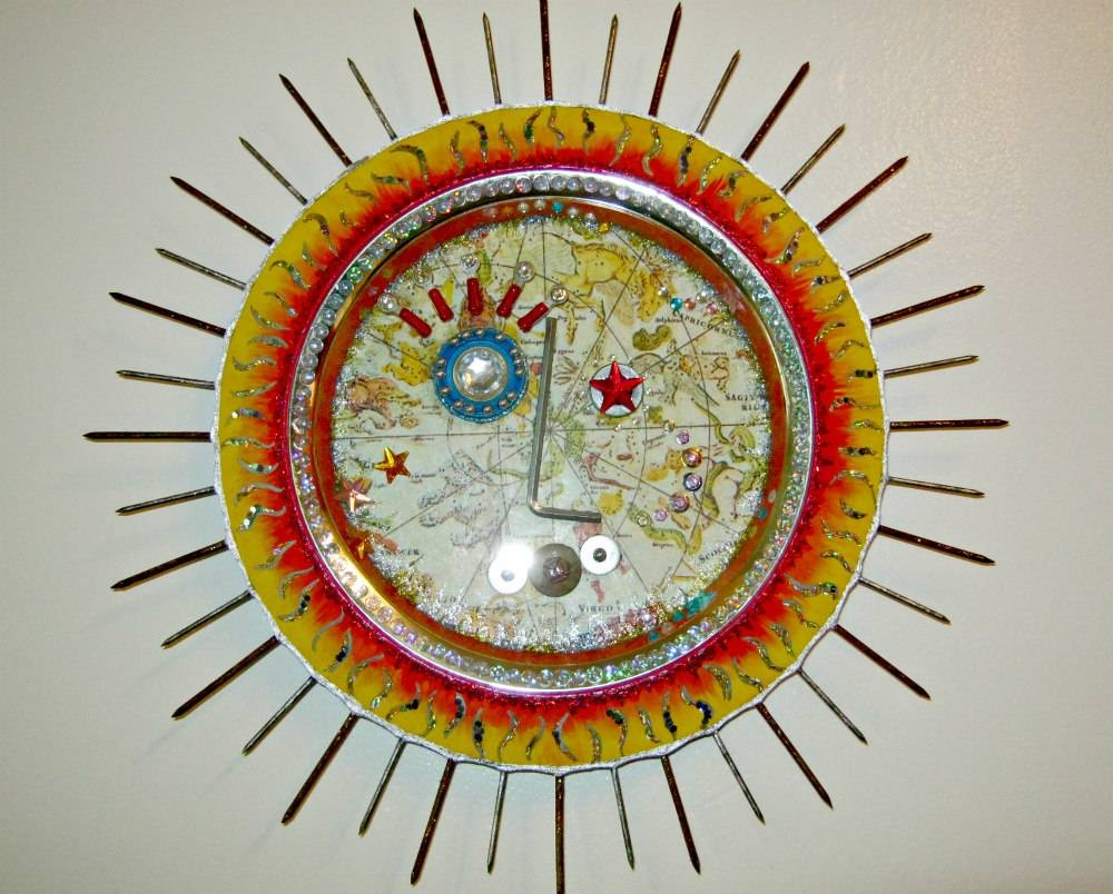 Radiant Sun Wall Art, Assemblage, Recycled Art – Lynda Makara Pertaining To Most Recently Released Recycled Wall Art (Gallery 28 of 30)