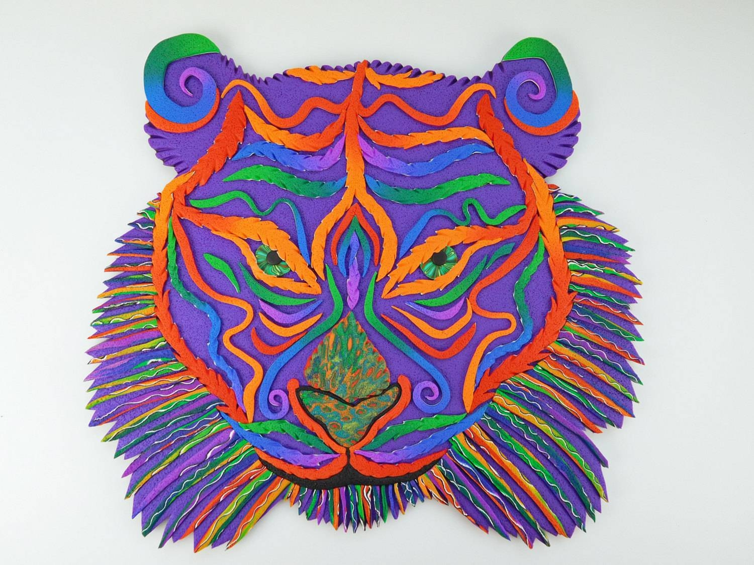Rainbow Tiger Polymer Clay Wall Art Or Clock In Crazy Stripe Throughout Most Current Polymer Clay Wall Art (View 6 of 20)
