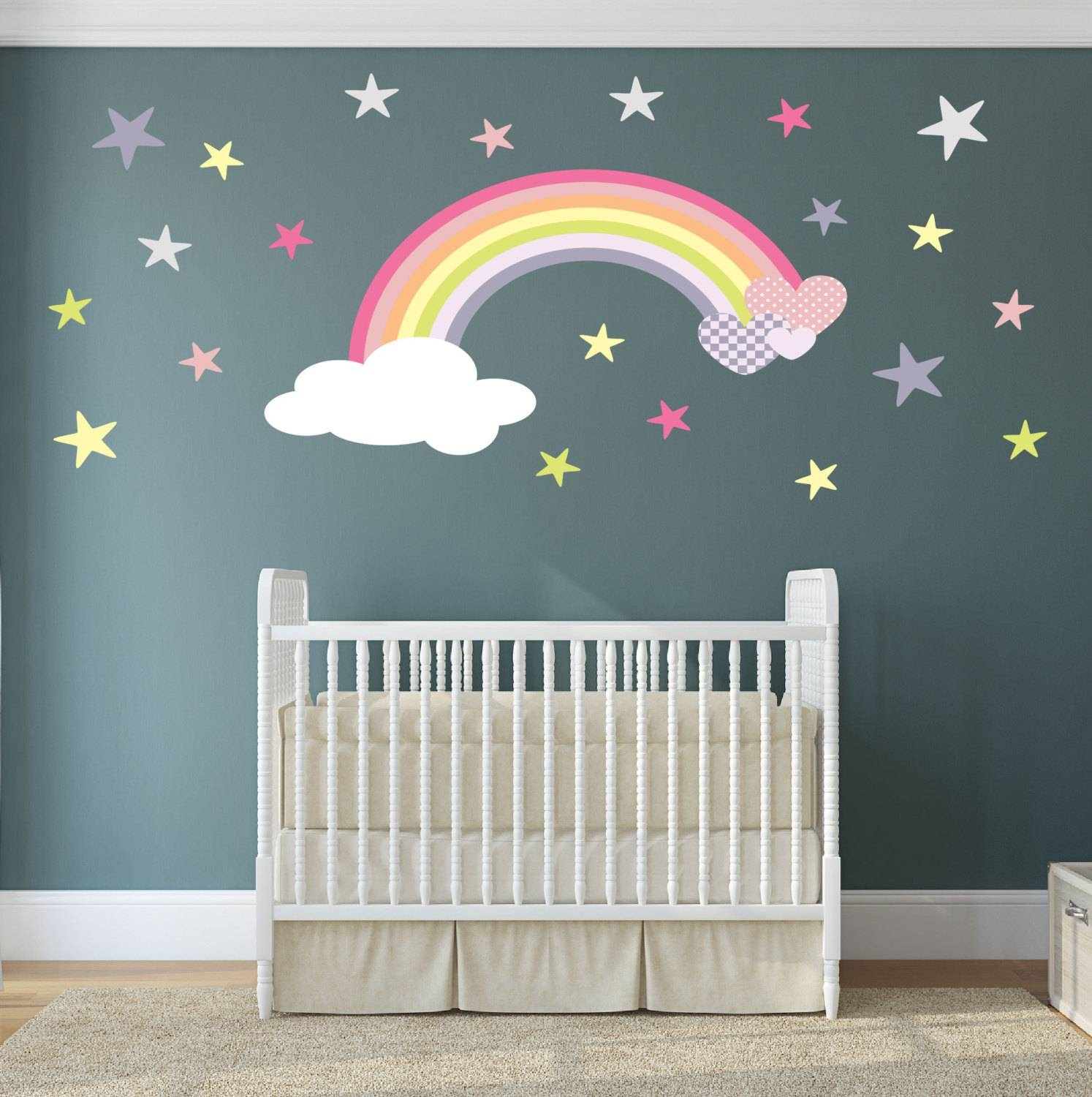 Rainbow Wall Art Nursery Decor. Decal With Magical Hearts And With Most Popular Nursery Wall Art (Gallery 9 of 20)
