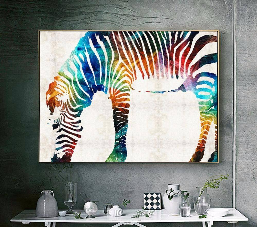 "Rainbow Zebra"" Canvas Wall Art 