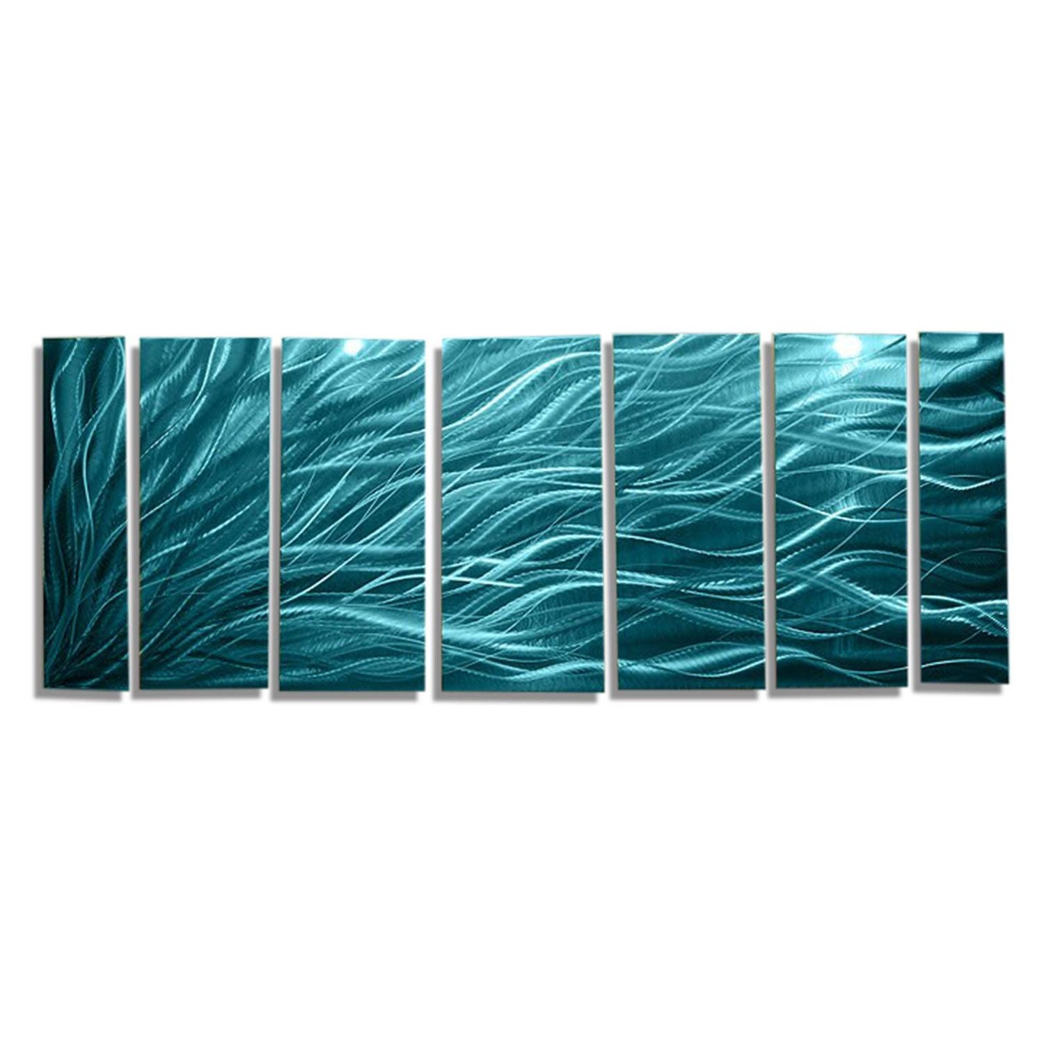 Rays Of Hope Aqua – Large Modern Abstract Metal Wall Artjon Inside Most Recent Large Abstract Metal Wall Art (Gallery 7 of 20)