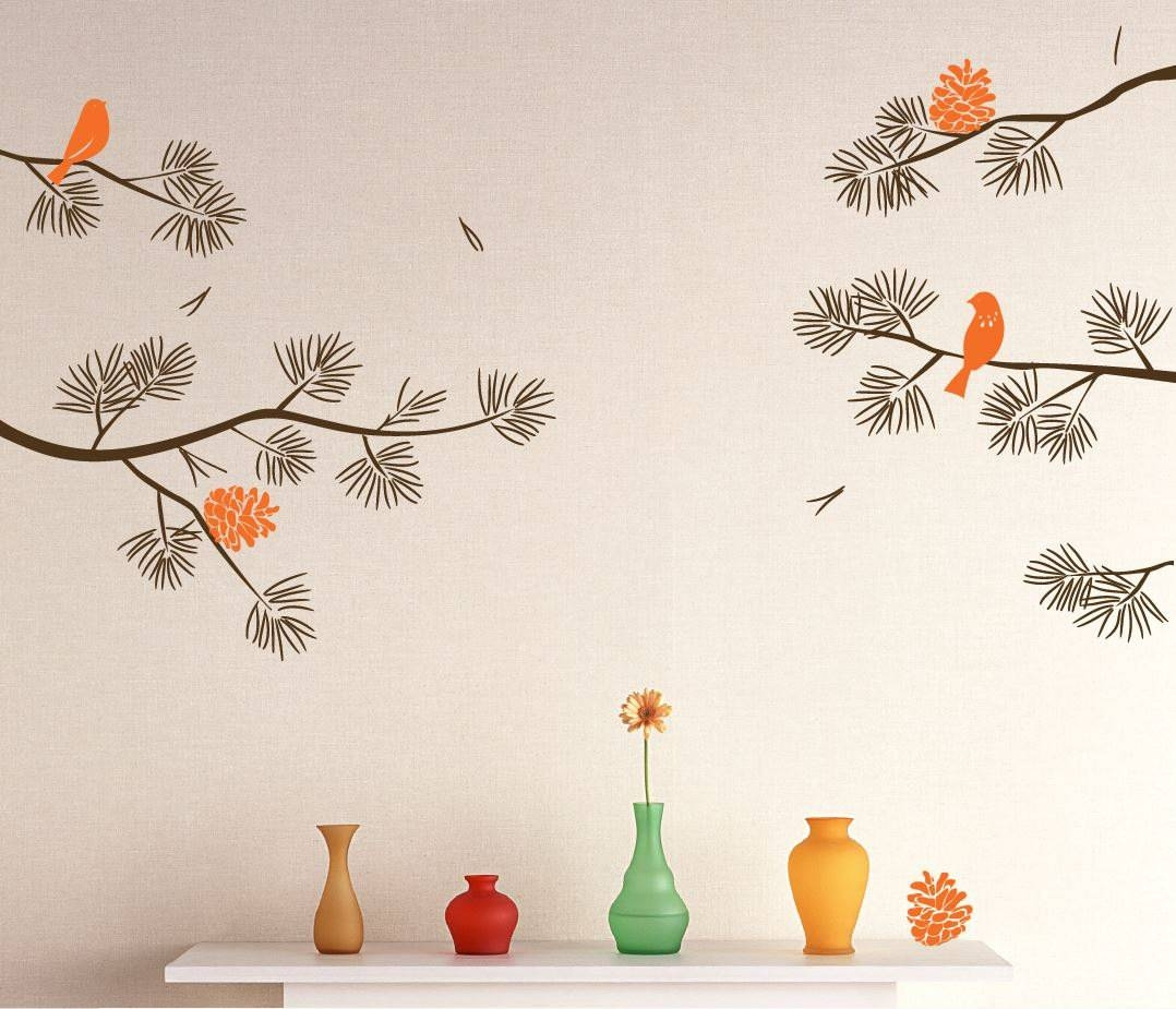Realistic Pine Tree Branch With Birds Decals Wall Sticker For Most Popular Pine Tree Wall Art (Gallery 19 of 30)