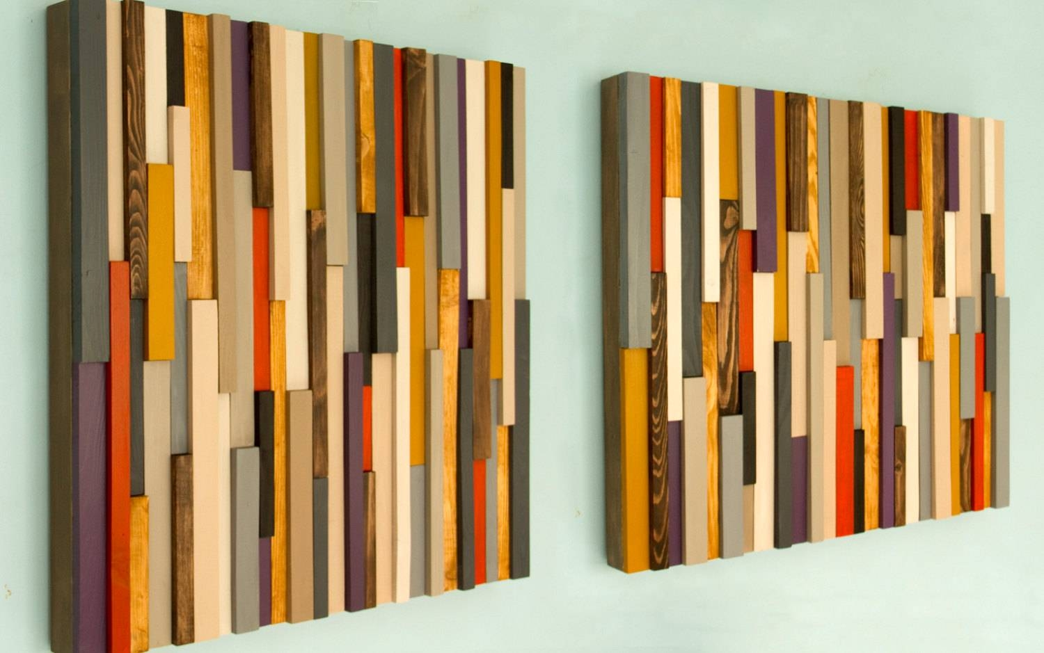Reclaimed Wood Art, Modern Wood Art 3D, Set Of 2 – Art Glamour With Regard To Newest Abstract Wall Art 3D (View 15 of 20)