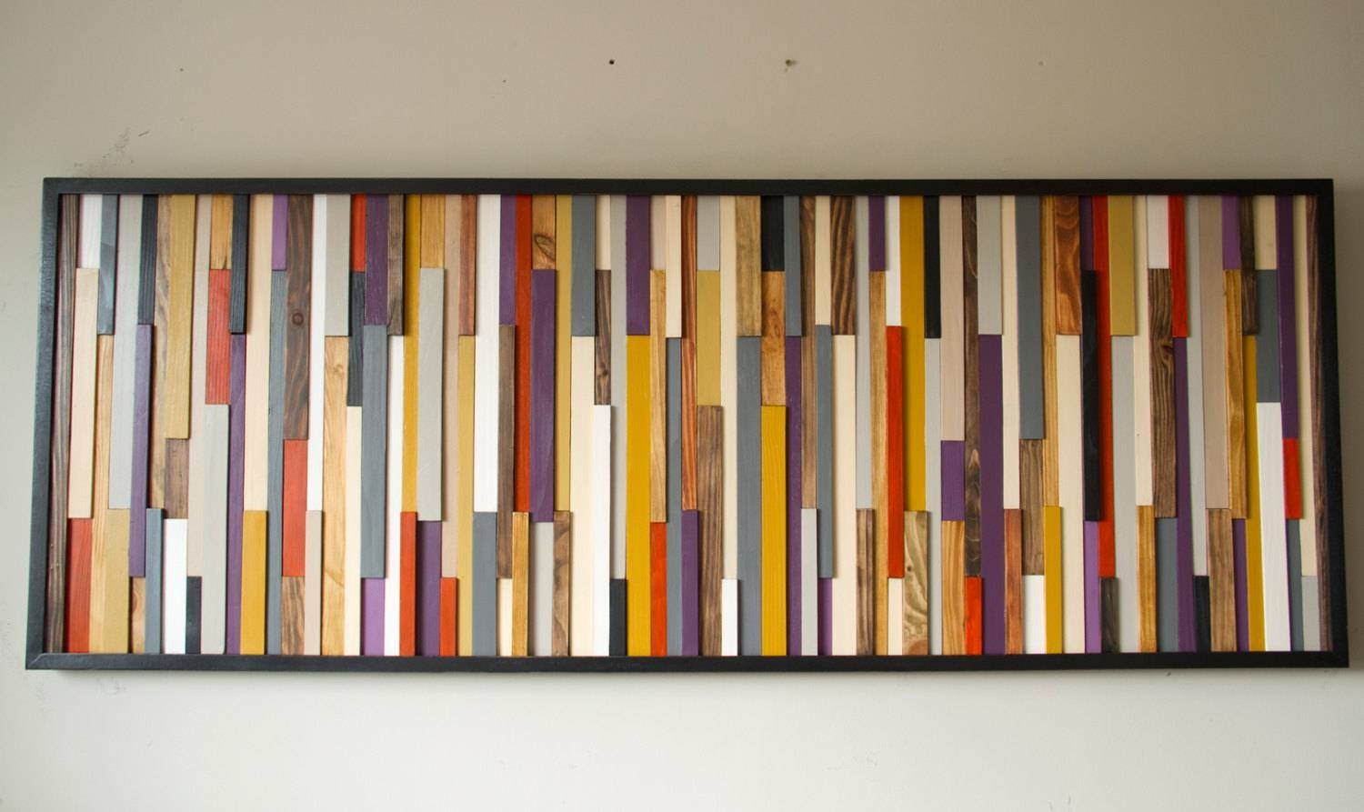 Reclaimed Wood Art, Wall Sculpture 3d Framed, Painted Wood Pieces Throughout Recent Aubergine Wall Art (View 14 of 20)