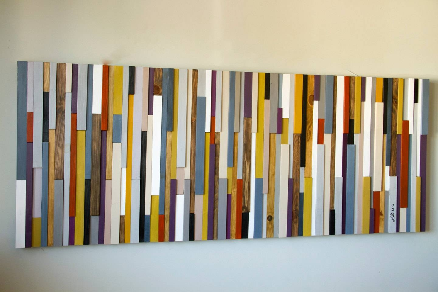 Reclaimed Wood Art, Wood Wall Art Sculpture, Painted Wood Art Throughout Most Popular Aubergine Wall Art (Gallery 15 of 20)