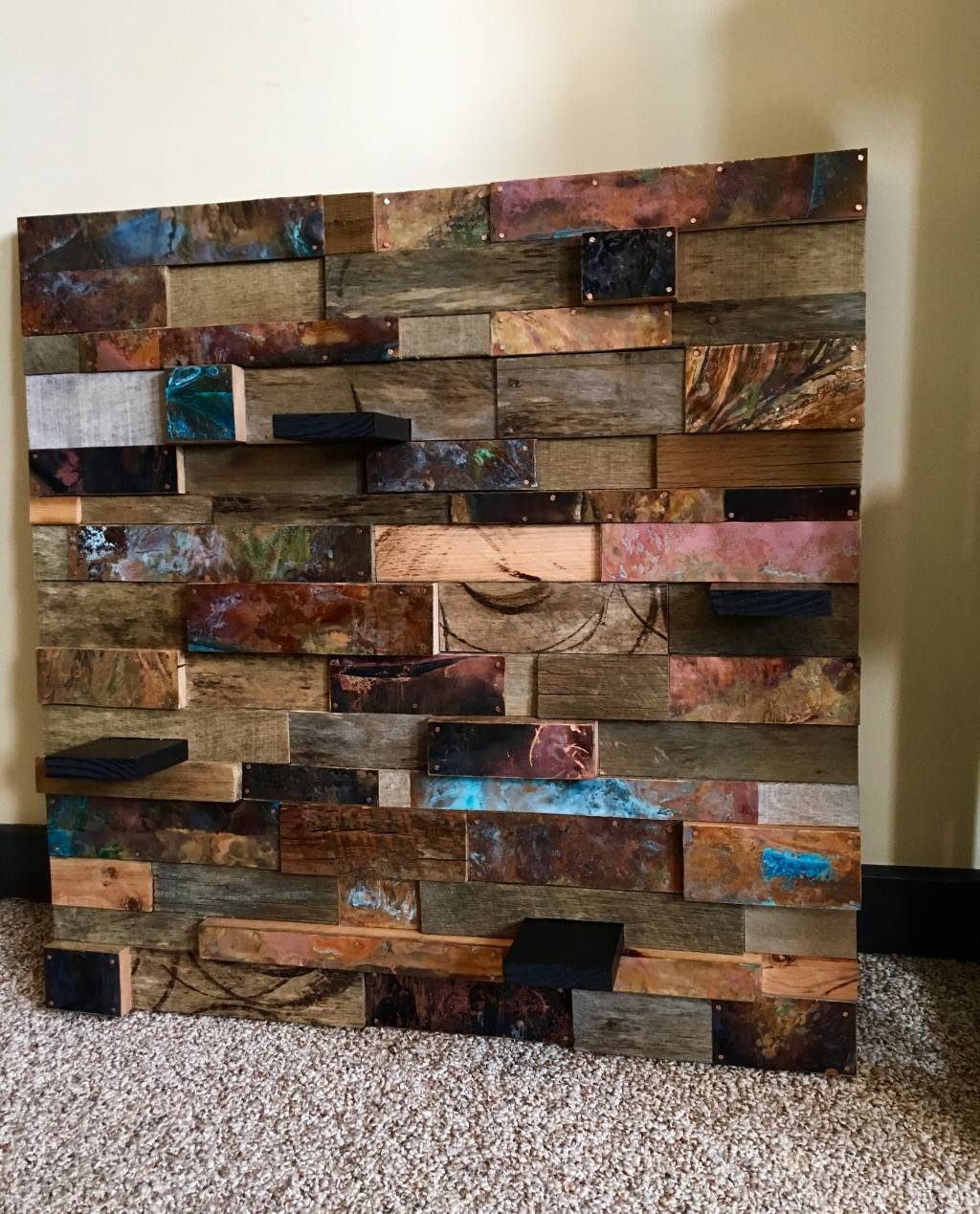 Reclaimed Wood & Copper Wall Art Intended For Most Recent Wood 3D Wall Art (Gallery 12 of 20)