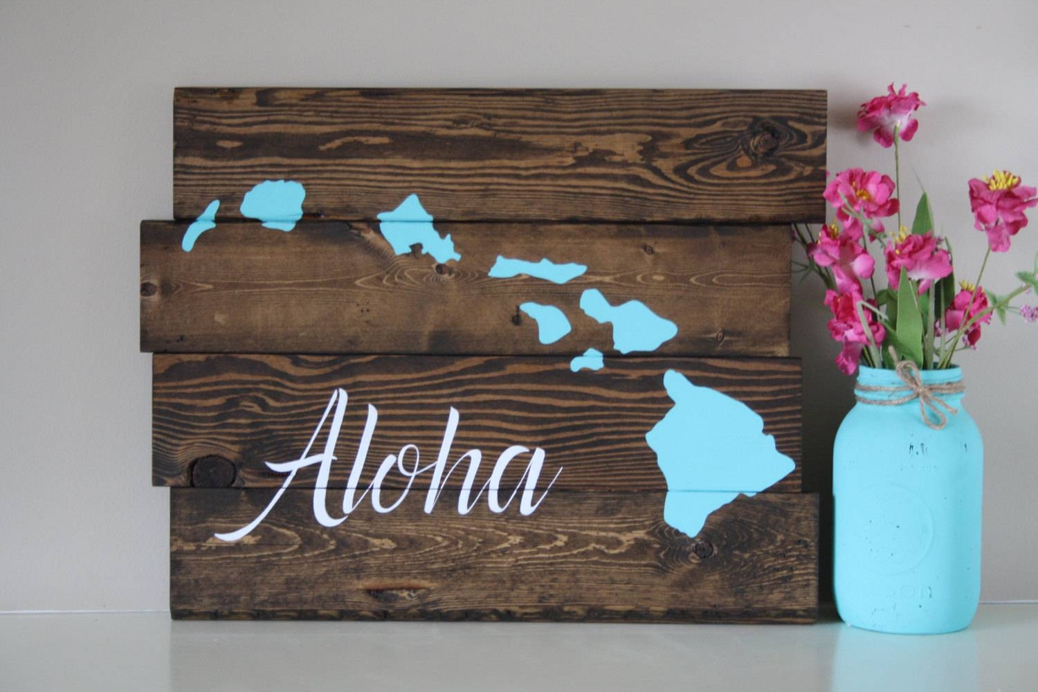 Reclaimed Wood Wall Art Aloha Hawaiian Island Reclaimed Inside Latest Hawaiian Islands Wall Art (View 25 of 25)