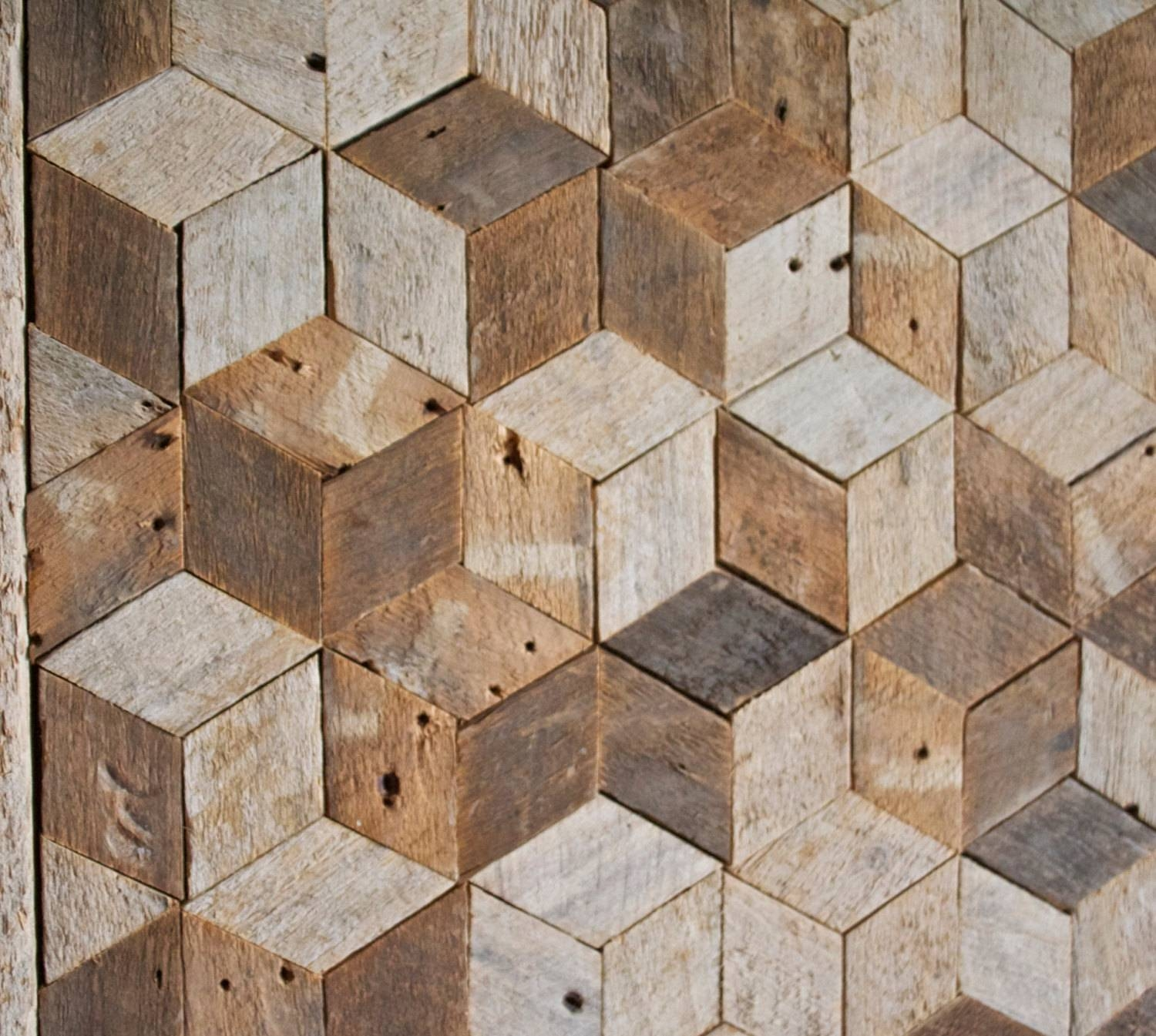 Reclaimed Wood Wall Art, Decor, Pattern, Lath, 3D, Cube, Geometric For Latest Cubes 3D Wall Art (Gallery 12 of 20)